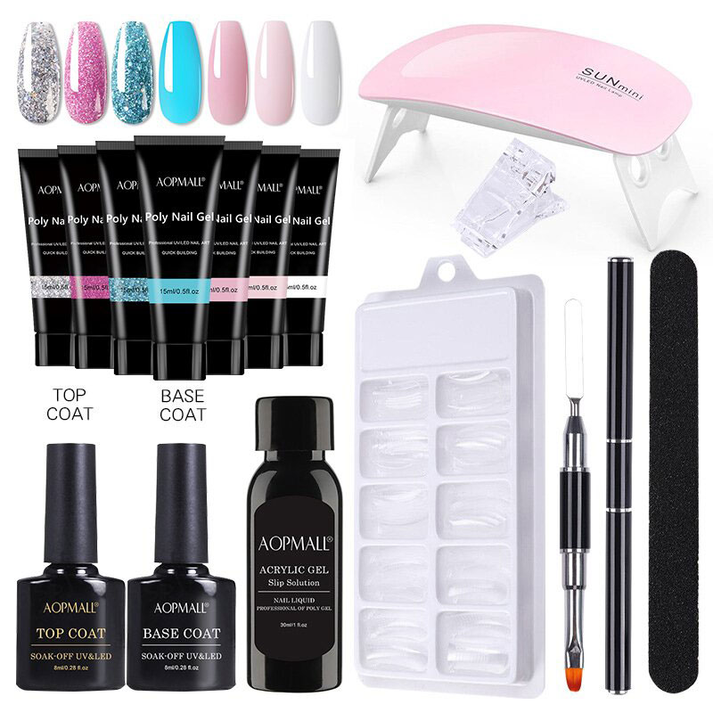 Aopmall 7 Color Poly Gel Set With Nail Dr