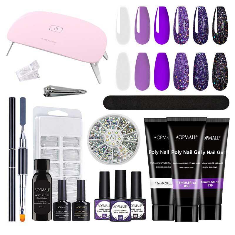 Purple Series Polygel Extension Nails Wit