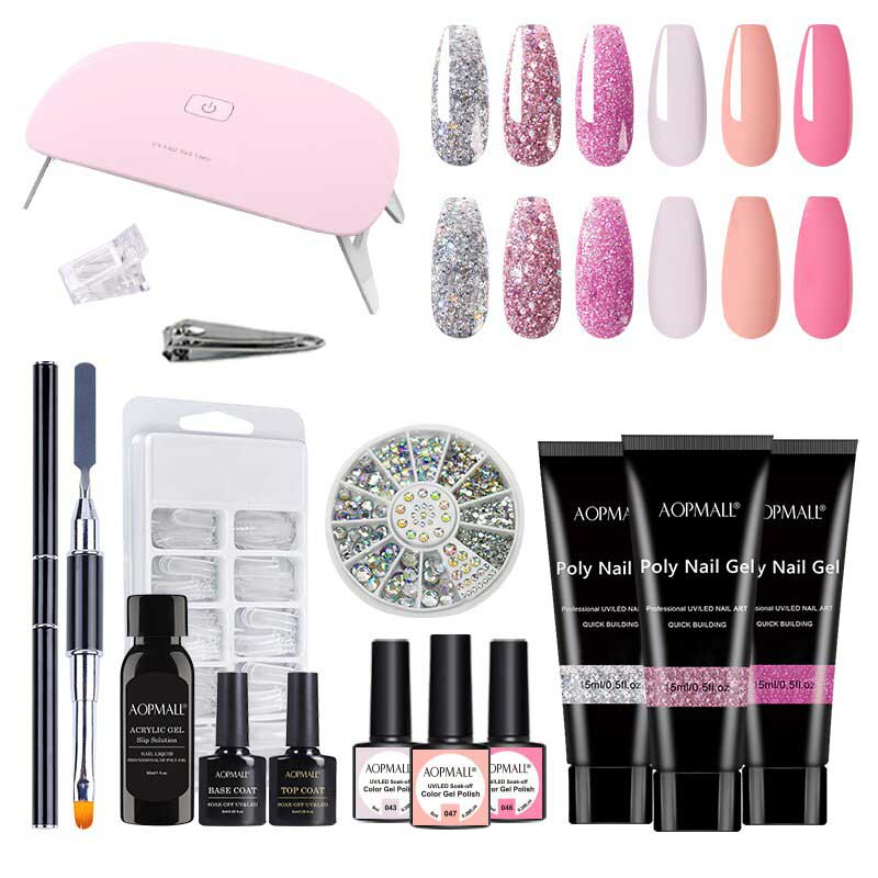 AOPMALL Glitter Pink 3 Color Poly Extensi