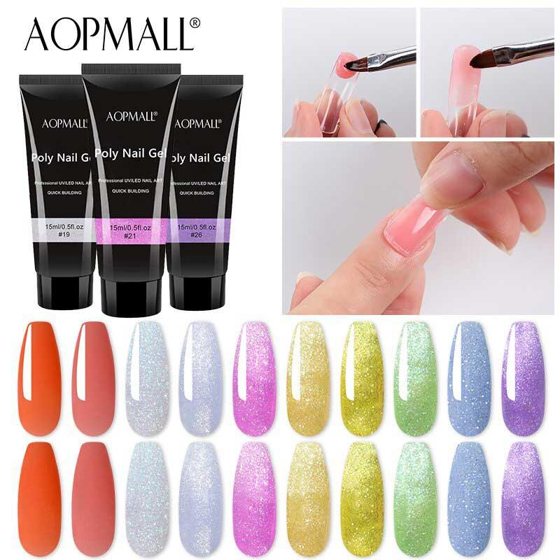 AOPMALL Poly Gel Nails UV/LED 15ml Glitte