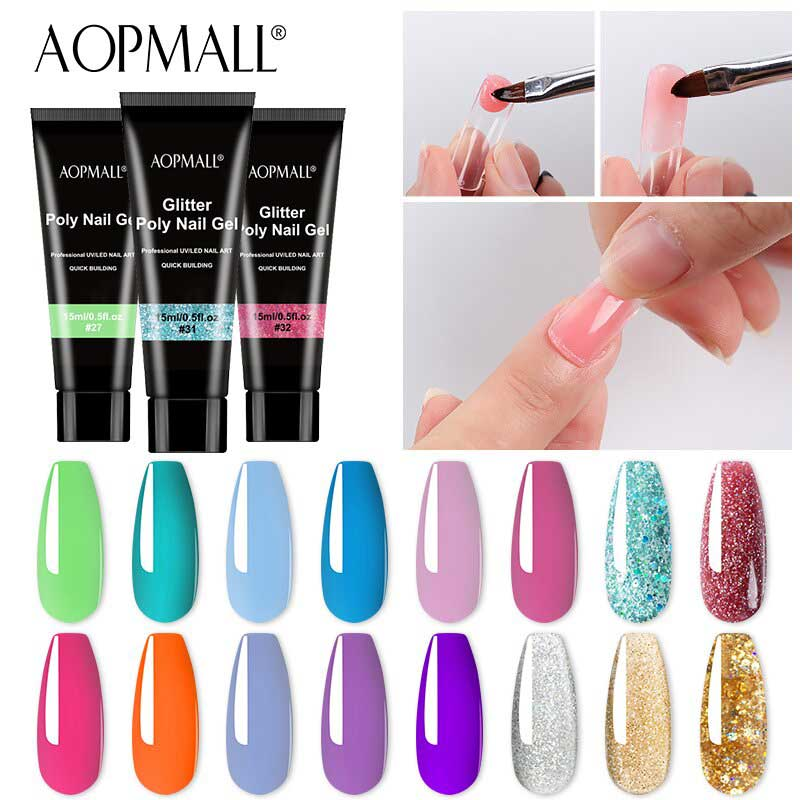 AOPMALL 15ml Poly Gel Solid Color Glitter