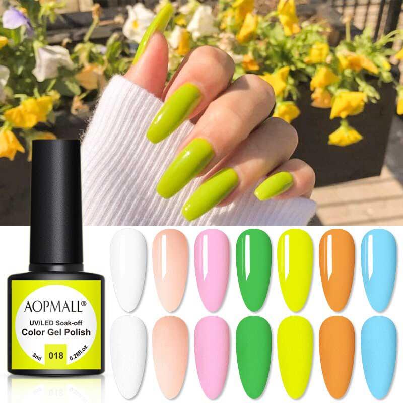 AOPMALL Green UV Gel Nail Polish Colors