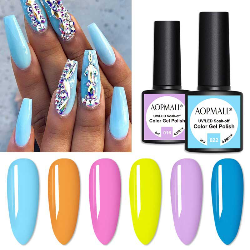 AOPMALL 6 Color 8ML Colorful Gel Nail Pol