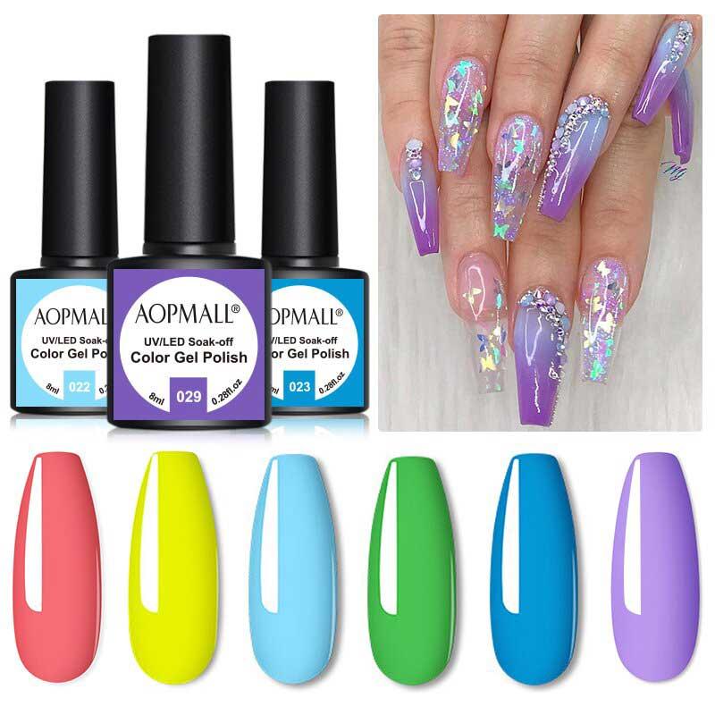 AOPMALL 6 Color 8ML Good Gel Nail Polish