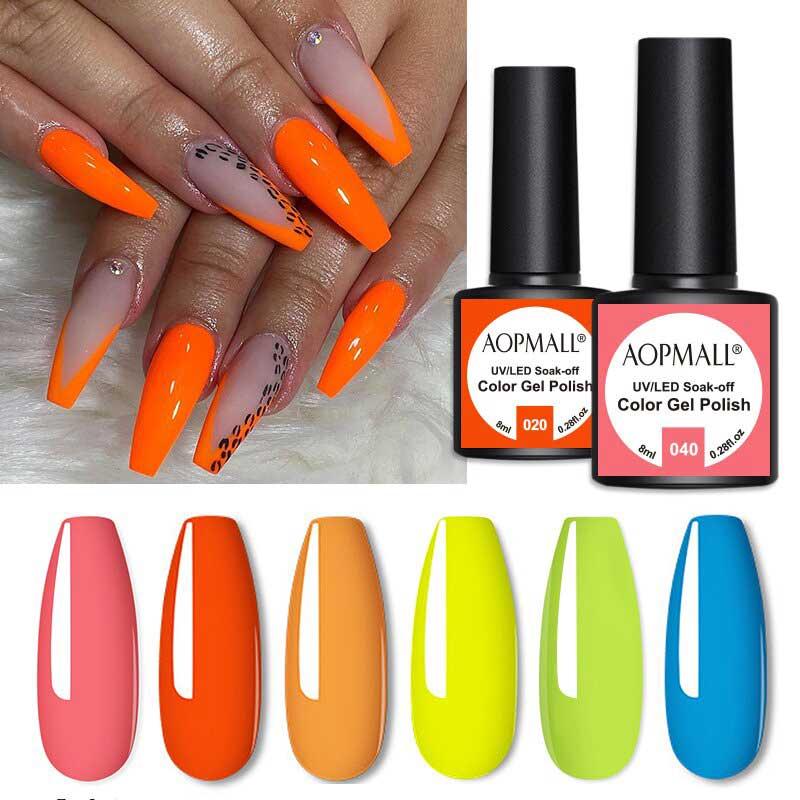 AOPMALL Orange UV Gel Polish Gel Nail Col