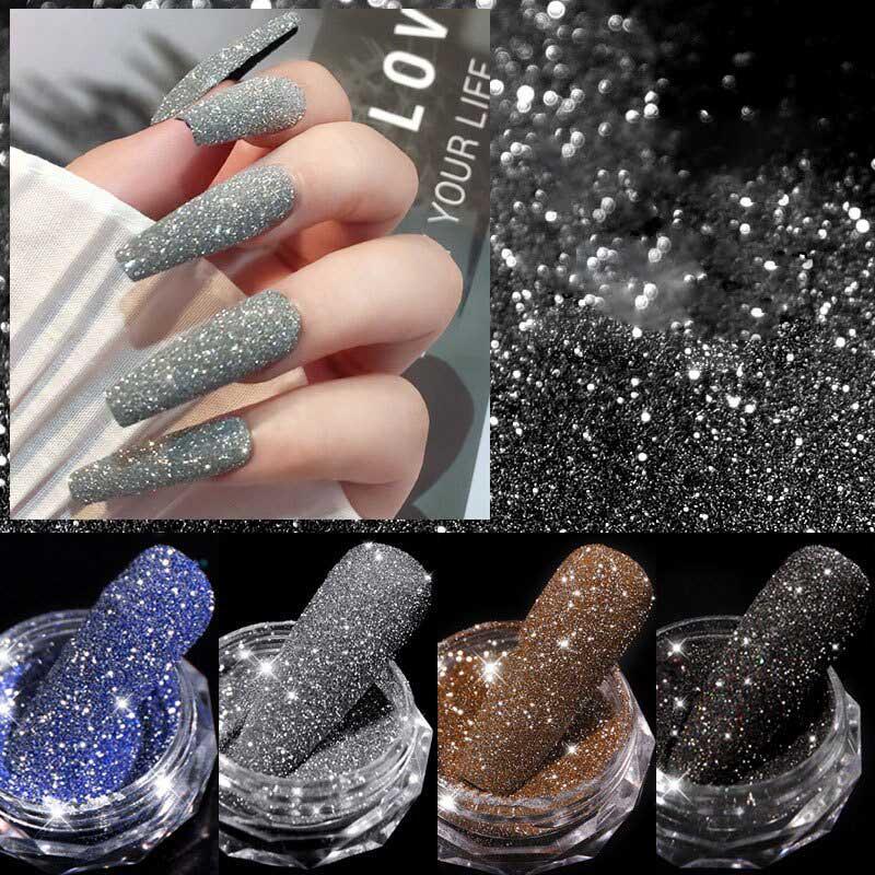 6 Colors Glitter Nail Crystal Diamond Pow