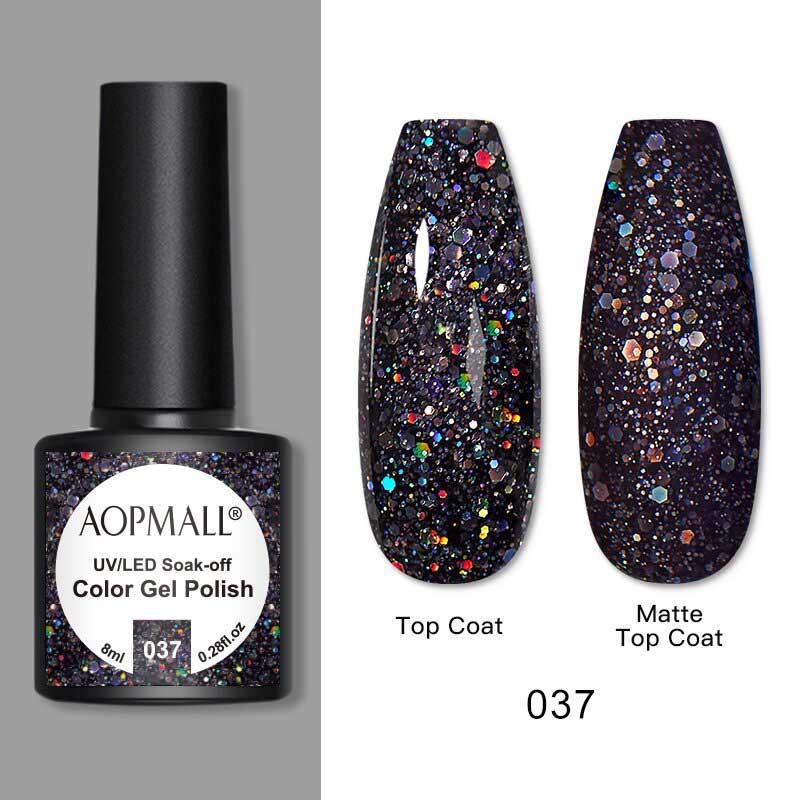 AOPMALL Black Glitter Gel Polish